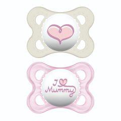 זוג מוצצי מאמ לגילאי 0-6 חודשים במבע ורוד MAM Original Love Mummy