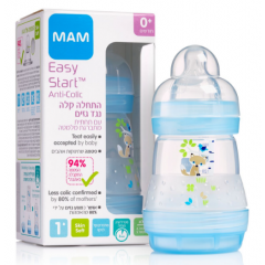 """מאמ בקבוק אנטי קוליק 160 מ""""ל צבע תכלת MAM"""
