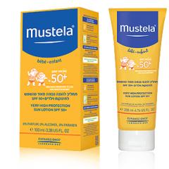 תחליב בעל הגנה גבוהה במיוחד לתינוקות וילדים +SPF50 - עמיד במים Mustela