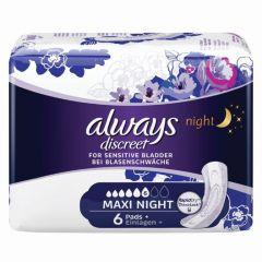 אולוויז דיסקריט תחבושות לבריחת שתן - מקסי לילה Always