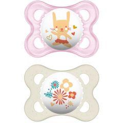 זוג מוצצים סיליקון פרל לגילאי 0-6 חודשים בצבע ורוד MAM