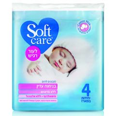 רביעיית מגבונים לחים בניחוח עדין Soft care