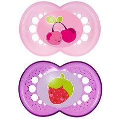 מוצצים זוג בקופסה MAM Fruits Silicone 6+M-בנות