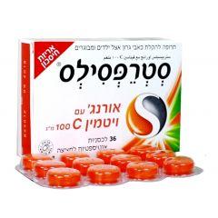 """סטרפסילס אורנג' עם ויטמין 100 C מ""""ג 36 STREPSILS"""