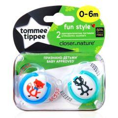 מוצצים עם איורי חיות 0 - 6 גירית זוג טומי טיפי TOMMEE TIPPEE