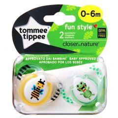 מוצצים עם איורי חיות 0 - 6 דבורה זוג טומי טיפי TOMMEE TIPPEE