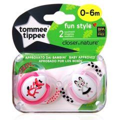מוצצים עם איורי חיות 0 - 6 שועל זוג טומי טיפי TOMMEE TIPPEE