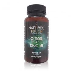 ויטמין C 500 בתוספת אבץ פיקולינאט 60 טבליות NATURES TOUCH