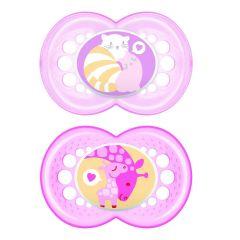 מוצצים זוג בקופסה לגילאי 6+ חודשים בצבע ורוד MAM Original Time for Love Silicone 6+M