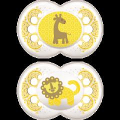 זוג מוצצי סיליקון מאמ לגילאי 6+ חודשים בצבע צהוב MAM Original Clearline