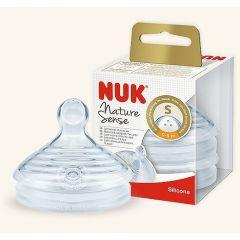 זוג פטמות בקבוק הזנה לגילאי 0-6 חודשים S - נוק NUK