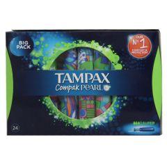 טמפונים עם מוליך סופר 24 יחידות TAMPAX Compak PEARL