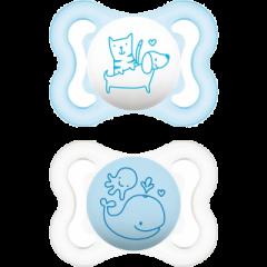 זוג מוצצי מאמ מסיליקון לגילאי 0-6 חודשים בצבע תכלת MAM Air