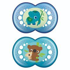 זוג מוצצי מאמ מסיליקון לגילאי 6+ חודשים בצבע תכלת MAM  Original Animal