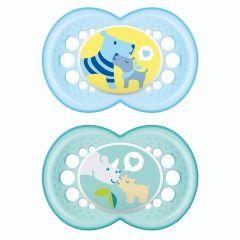 מוצצים זוג בקופסה לגילאי 6+ חודשים בצבע תכלת MAM Original Time for Love Silicone 6+M