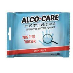 מגבונים היגיינים לידיים ALCO CARE - 30 מגבונים