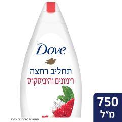 """דאב תחליב רחצה רימונים ותמצית פרח היביסקוס 750 מ""""ל dove"""