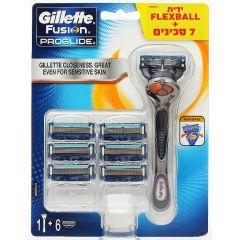 מכשיר גילוח+7 סכינים Gillette Fusion Proglide