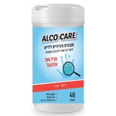 מגבונים היגייניים לידיים ALCO CARE  ללא צורך בשטיפה - 40 מגבונים