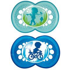 זוג מוצצים מסיליקון מאמ לגילאי 16+ חודשים בצבע כחול MAM Original Health